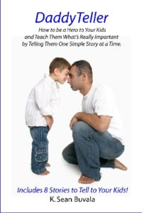 the cover of the daddyteller book with a small boy standing, a man kneeling and the two are gently bumping foreheads together
