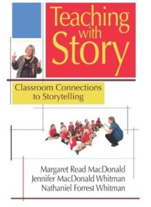 Storyteller learn storytelling with this book from margaret read macdonald. shows teacher teaching hand movements with kids.